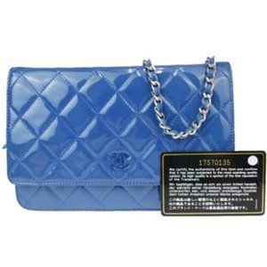 Chanel Wallet on Chain Quilted Woc Blue Patent